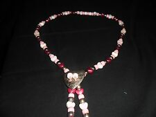 Southwestern Pink and Red Heart Concho Necklace