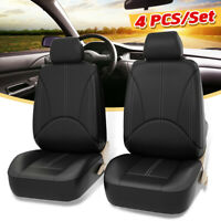 4PCS Universal Car Front Seat Cover PU Leather Breathable Protector Cushion #
