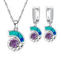 Fashion Amethyst Jewelry 925 Silver Blue Fire Opal Pendant Necklace Earrings Set
