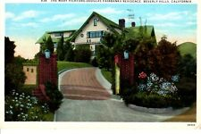 Vintage Postcard California Mary Pickford Douglas Fairbanks House Beverly Hills