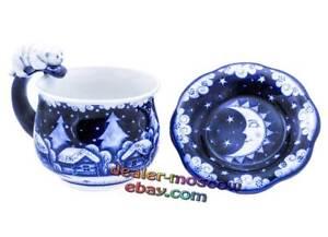 Russian Porcelain Author Gzhel Double Set Tea Couple Village Cat