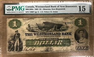 1861 Westmorland Bank $1 - Rare Trites Signature - PMG Choice Fine 15