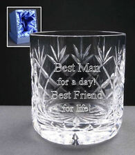 Personalised 24% Lead Crystal 8oz Whisky Glass Wedding Best Man In Silk Gift Box
