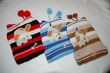 PUPPY DOG Red Blue Tan STRIPED Lot of 3 KNIT STOCKING HATS Toddler Boys