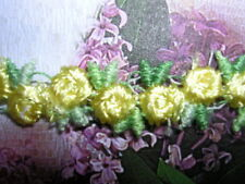 "Rosebud Trim Venise Lace  Yellow/Gr 3/8""  25yds Floral Baby  Free Ship!  #2290"