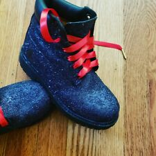 Glitter Timberlands Black with Red Shoelaces Gold tip
