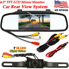 "4.3"" Car TFT LCD Rear View Mirror Monitor Parking System +7LEDs IR Backup Camera"