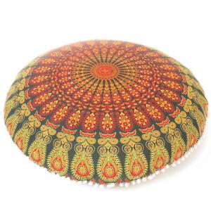 "32"" Green Orange Floor Meditation Pillow Cushion Seating Throw Cover Man"