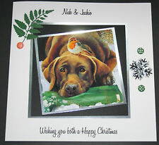 HANDMADE PERSONALISED CHRISTMAS CUTE DOG AND ROBIN LARGE CARD 8X8