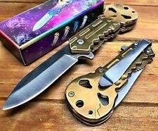 Punisher Spring Assisted Tactical Pocket Knife Alum Handle Wholesale Gold