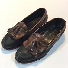 COLE HAAN Country Moc Toe Brown & Black Leather Kilt Tassel Loafers Shoes 8.5 D