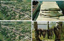 Milltown Wisconsin Wi 4 1950s Pcs, Aerail Views & 2 Fishing Brag Cards, Stringer