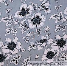 BonEful Fabric FQ Cotton Quilt Gray Black White Tonal Rose Flower Leaf VTG Toile