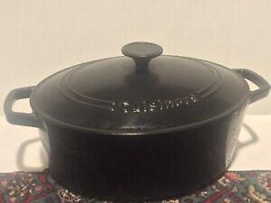Cuisinart C1755-30 5.5 Qt Black Cast Iron Casserole Roasting Pan Lid GREAT SHAPE