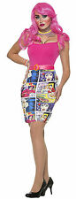 Adult Pop Art Comic Strip Print Pencil Skirt Costume