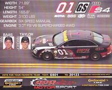 "2010 APR Motorsport #01 ""1st issued"" Audi S4 Continental Tire postcard"