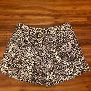 Anthropologie Coquille Doodle Floral Linen Short Size 0