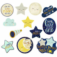 TWINKLE TWINKLE LITTLE STAR Cutouts Baby Shower Decorations~NEW~ 12 Pieces