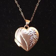 "Gold 9ct Photo Locket Heart Shaped Pendant & 9ct Gold 16"" Chain Hallmarked W2.2g"