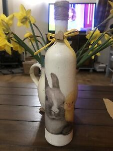Beautiful Decoupage Easter Bottle /gift/ Unique Handmade