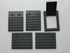 LEGO trap door gate 6x8 4x6 DARK GREY (pack of 5) hinges castle dungeon plate