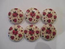 6 x 18mm Wooden BUTTONS Red LADYBIRD BUG Sewing or Scrapbooking No1041