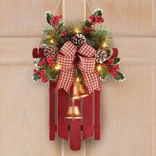 Lighted Red Country Sleigh with Holiday Arrangement Christmas Door Decor