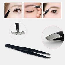 Stainless Steel Black Eyebrow Tweezers Hair Beauty Slanted Tweezer Tool