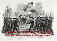 President Abraham Lincoln Reviewing Union Troops Civil War, 1860s Antique Print