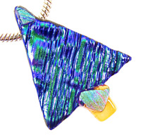 Dichroic Fused Glass CHRISTMAS TREE PIN Green Blue Purple Striped Patterned 2""