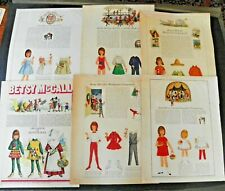 6 Vintage Betsy McCall Paper Doll Pages