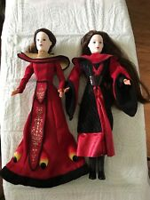 2 Hasbro Star Wars Queen Amidala Red Gown Doll 1999 Action Figure