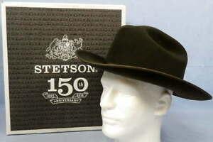 Stetson Royal Deluxe Open Road Hat 6X Fur Felt Sage Size 7 1/2 Cattleman Crown