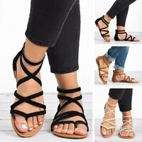 Women's Strappy Crisscross Gladiator Low Flat Heel Summer Wedge Sandals Shoes SZ