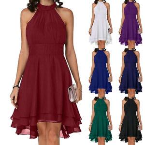 Womens Chiffon Sleeveless Halter Evening Party Holiday Prom Mini Dress Plus Size