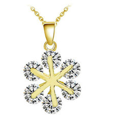 Luxury Yellow Gold White Cubic Zircon Winter Snowflake Pendant Necklace N357