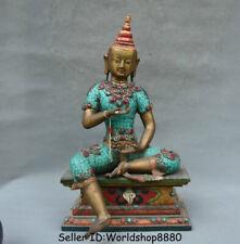 """14"""" Old Tibet Mahayana Buddhism Bronze Turquoise Wood Green Tara Goddess Statue"""