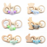 Rabbit Animal Beech Bracelet Baby Teething Toys Wood Ring Silicone Beads Rattle