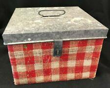 Cute! Metal Red Buffalo Fabric Plaid Checkered Decoupage Decorative Storage Box