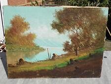 Vieux looking véritable peinture à l'huile sur toile signé (a?) de costor