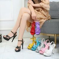 Fashion Women High Heels Sandals Ankle Strap Patent Leather Stiletto Shoes Party