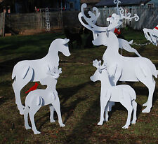 3-D Christmas Reindeer Yard Art, 4 Piece Set of Christmas Reindeer Outdoor Decor