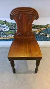 Antique mahogany carved decorated English Regency / early Victorian hall chair