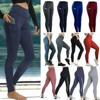 Women Sport Yoga Pants Pocket High Waist Gym Fitness Leggings Workout Trousers A