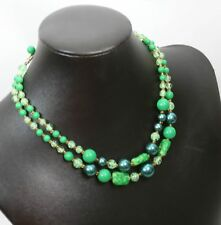 Vintage Double Strand Green Glass Bead Necklace