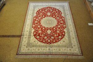 Red & White Shed Free High Quality Handmade Carpet 6x9 Silk