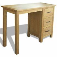 vidaXL 3 Drawer Solid Oak Wood Desk - 242743