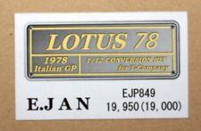 1/12 Lotus 78 - Italian GP 1978 - Model Factory Hiro trans kit for Tamiya