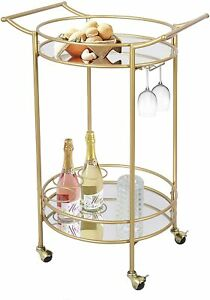 UMI. by Amazon Gold Drinks Kitchen Trolley Serving Bar Cart on Wheels with Mirro