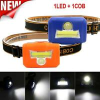 COB LED Mini Head Lamp Light Torch Flashlight 3 Mode Headlamp Headlight Camping